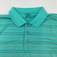 PGA Tour Golf Polo Shirt Men's 2XL XXL Short Sleeve Green Striped 100% Polyester