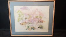 """Pastel Picture of Country Cottage Completed Cross Stitch Framed 23.5"""" x 19"""""""