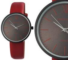 Damen Armbanduhr Schwarz/Rot Kunstlederarmband 1900112 von Excellanc