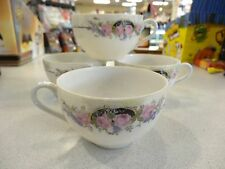 3  VINTAGE OCCUPIED JAPAN DELICATE  PORCELAIN FLOWER DESIGN COFFEE TEA CUPS