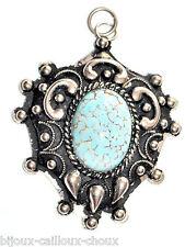 Pendentif vintage plaqué argent porcelaine bleu bijou pendant pendant