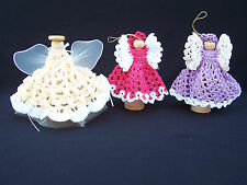 2 Crocheted Angel Ornaments & 1 Angel Shelf Sitter Angel Dolls Handmade