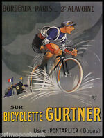 BICYCLE GURTNER CYCLES BIKE RACE BORDEAUX CYCLING PARIS VINTAGE POSTER REPRO