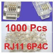 1000 PCS LOT CAT3 Phone Connector End RJ11 6P4C Modular Plug Telephone New