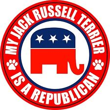 """My Jack Russell Terrier Is A Republican 5"""" Dog Sticker"""