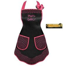 Party Girl! Designer Apron Kitchen BBQ Hostess Embroidery Matching Hair Bow Pink
