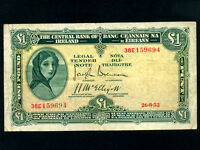 Ireland:P-57b,1 Pound,1952 * Lady Hazel Lavery *
