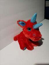 "Winkeez Plush Blue Red Dino Rhino Stuffed Animal 7"""