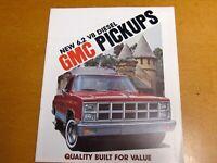 1982 GMC PICK UP TRUCKS COLOR  DEALER BROCHURE