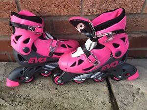 Girls Adjustable Evo Roller In-line Skates Pink & Black