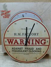NOSTALGIC REPRO WARTIME FACTORY WALL CLOCK. 13TH AUGUST 1918. (BATTERY INCLUDED)