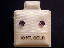 Amethyst Ohrstecker Ohrringe - 3,5 mm - 10 Kt Weiß Gold - 417 - Brillant Schliff