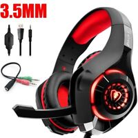 3.5mm Headphone Headset PC Earphone Stereo Bass W/Mic For PS4 Gaming Xbox One