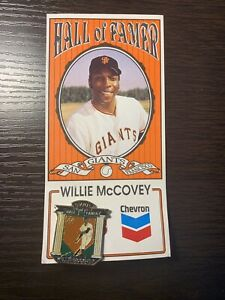 1991 HALL OF FAMER SAN FRANCISCO GIANTS CHEVRON WILLIE McCOVEY PIN still on card