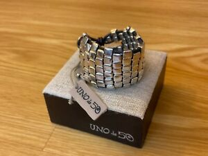 """NWT Uno de 50 Silver-plated Wide Bracelet """"Wall Up"""""""