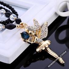 Damen Perlen AAA Zirkonia Halskette Strass Handarbeit Collier ENGEL Anhänger NEU