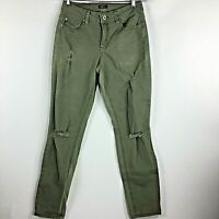 Rue 21 Distressed Skinny Jeans Olive Womens Size 6