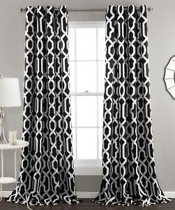 Set 2 Black White Geometric Trellis Curtains Panels Drapes 84 inch L Darkening