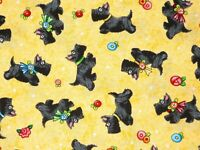 SCOTTIE DOGS MARY ENGELBREIT FABRIC QUILTING TREASURES COTTON SCOTTY BY THE YARD