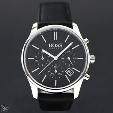 Hugo Boss 1513430 Business Herrenuhr Chronograph Echt Leder Schwarz
