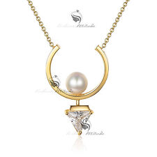 18k yellow gold gp made with SWAROVSKI crystal pearl pendant necklace