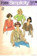 Vintage 1970s Simplicity Sewing Pattern Women's FRONT WRAP TOPS 7351 Large UC