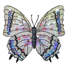 Large White Sequin Butterfly Applique Patch (Iron on)
