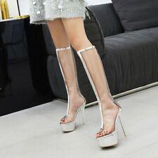 Women Transparent Stiletto Peep Toe Knee High Boots Clear Platform Big Size Shoe