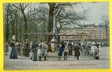 cpa France PARIS en 1907 Champs Elysées Petit MANÈGE CAROUSEL de CHEVAUX de BOIS