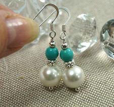 echte Perlen Ohrringe Weiß mit  Türkis (Howlith) 925 Silber Ohrhänger