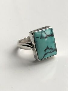 Solid Silver 925 Large Turquoise Ring Size N1/2