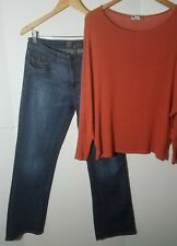 2 KUT 10 M Outfit Stretch Soft knit Sweater blouse & Dark Blue Jeans Bulk Deal