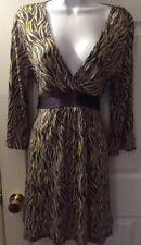 New Women's EXPRESS Dress Geometric Knit Wrap VNeck Tan Yellow Brown Sz M