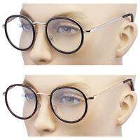 New Vintage Clear Lens Round Reading Glasses Gold Black Metal Frame Eyeglasses b