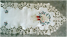 """SILENT NIGHT Lace Doily 64"""" Table Mantle Scarf Runner Christmas Metallic Gold"""
