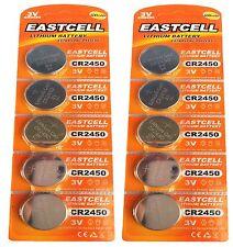 10 x CR2450 3V Lithium Batterie auf 2 Blistercard a 5 Stück EASTCELL