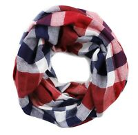 LOFT Women's  NWT Red/Navy/Ivory Buffalo Check Plaid Infinity Cotton Blend Scarf