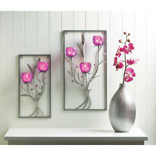 MAGENTA FLOWER TWO CANDLE WALL SCONCE