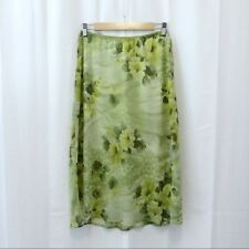 Dress Barn green floral medallion gauze long skirt M
