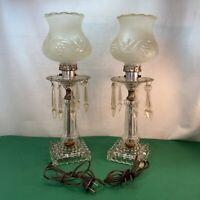 Vtg PAIR Glass Base Plastic Prisms Hurricane Style Shade Boudoir Table Lamps