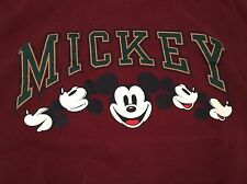 Vintage Mickey Mouse Sweatshirt Disney Designs Maroon 50/50 Usa Size L/Xl