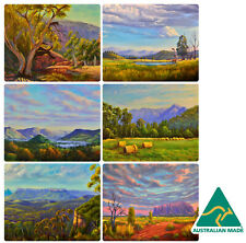 6 x COASTERS - AUSTRALIAN MADE SOUVENIR - COUNTRYSIDE, MOUNTAINS, AUSSIE OUTBACK