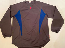 Philadelphia Phillies MAJESTIC THERMA BASE GRAY BLUE PULLOVER Size Large