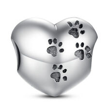 Wostu Authentic S925 Sterling Silver Charm Dog footprints Fit Bracelet necklace