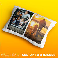 Personalised Photo Pillowcase Cushion Pillow Case Cover Custom Gift up to 2 pics