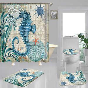 Blue Seahorse Door Bath Mat Toilet Cover Rugs Shower Curtain Bathroom Decor