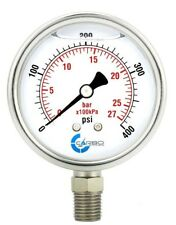 "2.5"" LIQUID FILLED PRESSURE GAUGE 0 - 400 PSI, STAINLESS STEEL CASE LOWER MOUNT"