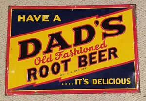 1940s DAD'S ROOT BEER embossed tin sign from Chicago ILLINOIS - COOL!!
