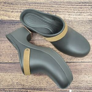 Crocs Sarah Clogs Mules Shoes Womens Size 9 Espresso Brown Leather Strap NWT