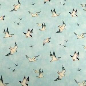 """Little White & Black Sea Gulls Against a Soft Aqua Sky, A JoAnn's Cotton, 35"""" L"""